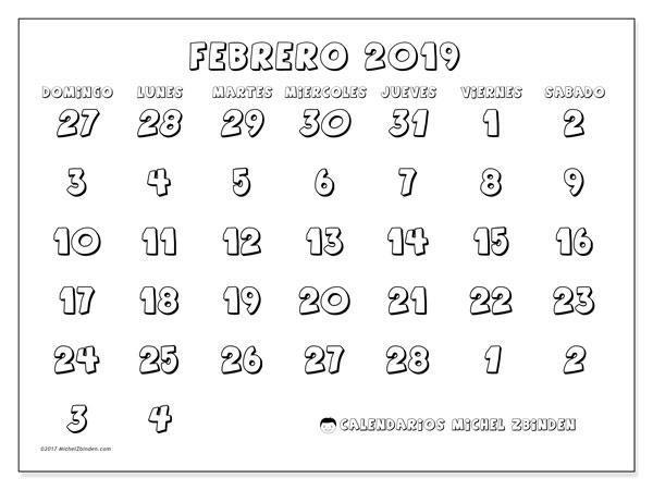 Calendario febrero 2019, 71DS. Almanaque para imprimir gratis.