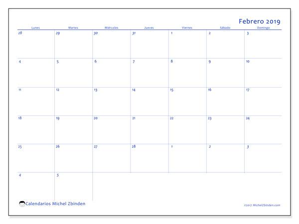 Calendario febrero 2019, 73LD. Planificación para imprimir gratis.
