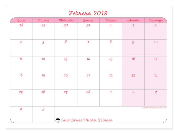 Calendario febrero 2019, 76LD. Calendario para imprimir gratis.