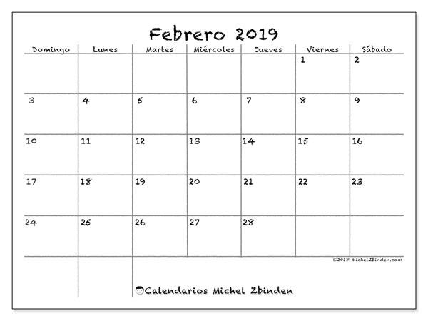 Calendario febrero 2019, 77DS. Calendario para el mes para imprimir gratis.