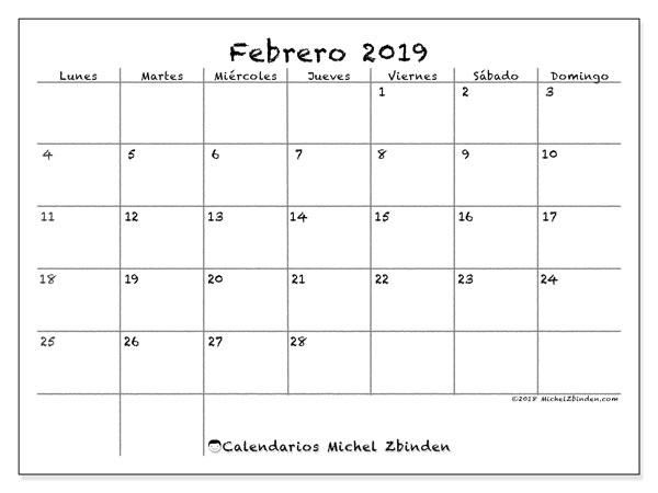 Calendario febrero 2019, 77LD. Calendario mensual para imprimir gratis.