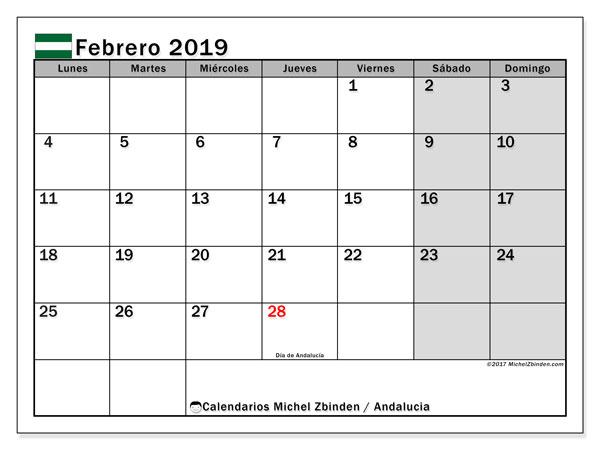 Calendario febrero 2019, con los días festivos de Andalucia. Almanaque para imprimir gratis.