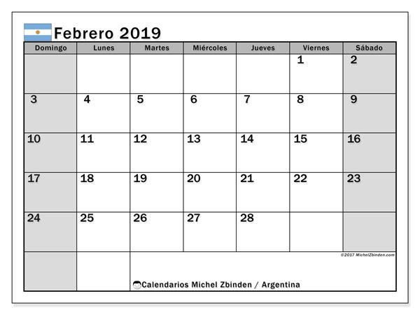 Calendario febrero 2019, con los días feriados en Argentina. Calendario para imprimir gratis.