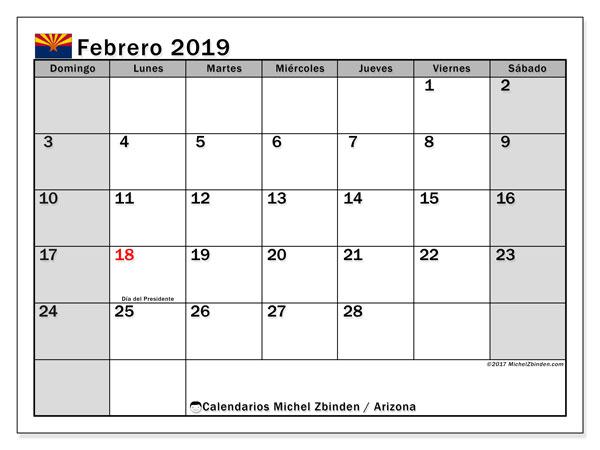 Calendario febrero 2019, con los días feriados en Arizona. Calendario para imprimir gratis.
