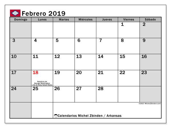 Calendario febrero 2019, con los días feriados de Arkansas. Almanaque para imprimir gratis.