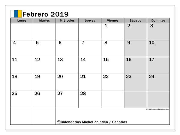 Calendario febrero 2019, con los días festivos de las Islas Canarias. Calendario gratuito para imprimir.