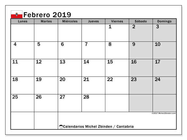 Calendario febrero 2019, con los días festivos de Cantabria. Calendario imprimible gratis.