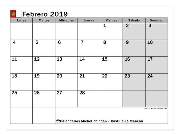 Calendario febrero 2019, con los días festivos de Castilla-La Mancha. Calendario para el mes para imprimir gratis.