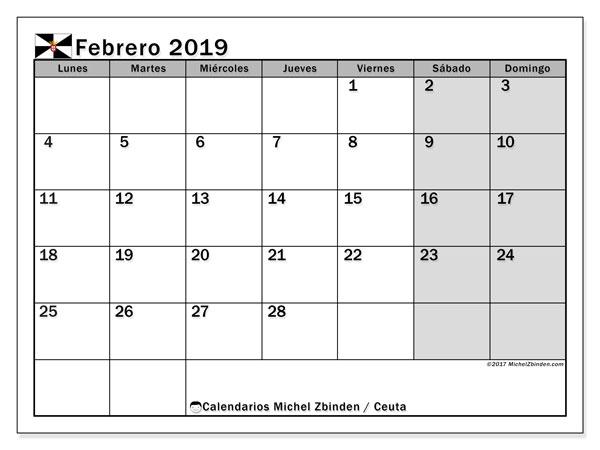 Calendario febrero 2019, con los días festivos de Ceuta. Planificación para imprimir gratis.