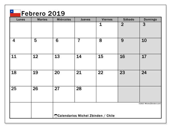 Calendario febrero de 2019 - Chile. Calendario para imprimir: fiestas oficiales.