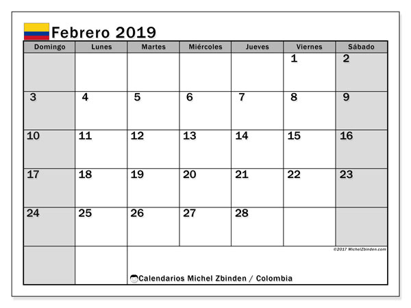 Calendario febrero 2019, con los días festivos en Colombia. Calendario gratuito para imprimir.