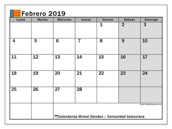 Calendario febrero 2019, con los días festivos de la Comunidad Valenciana. Almanaque para imprimir gratis.