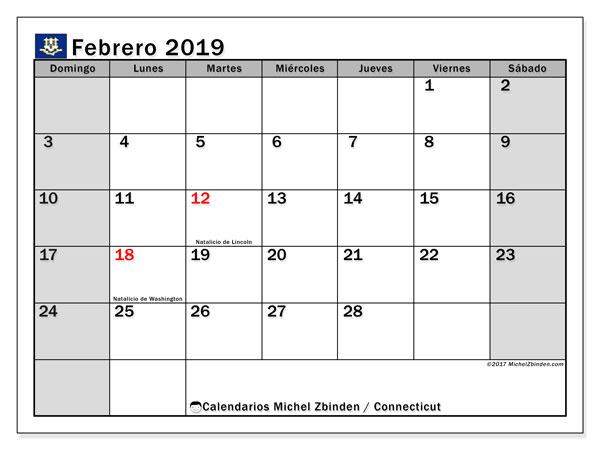 Calendario febrero 2019, con los días feriados en Connecticut. Calendario gratuito para imprimir.