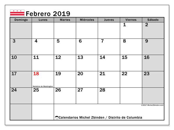 Calendario febrero 2019, con los días feriados del Distrito de Columbia. Calendario mensual para imprimir gratis.