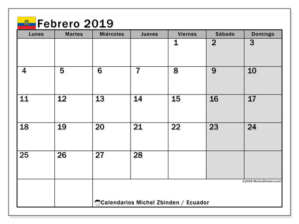 Calendario febrero 2019, con los días feriados para Ecuador. Calendario imprimible gratis.