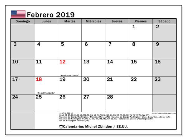 Calendario febrero de 2019 - EE.UU.. Calendario para imprimir: fiestas oficiales.