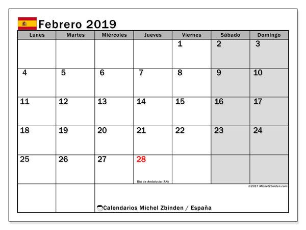 Calendario febrero de 2019 - España. Calendario para imprimir: fiestas oficiales y días festivos.