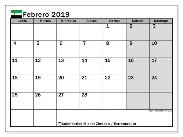 Calendario febrero de 2019 - Extremadura. Calendario para imprimir: fiestas oficiales.