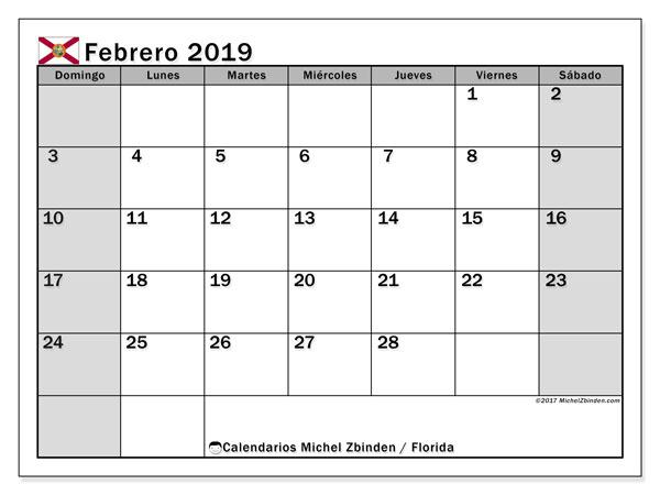 Calendario febrero 2019, con los días feriados en Florida. Calendario gratuito para imprimir.
