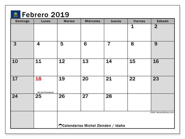 Calendario febrero 2019, con los días feriados de Idaho. Calendario imprimible gratis.
