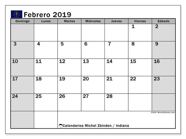 Calendario febrero 2019, con los días feriados de Indiana. Calendario para imprimir gratis.