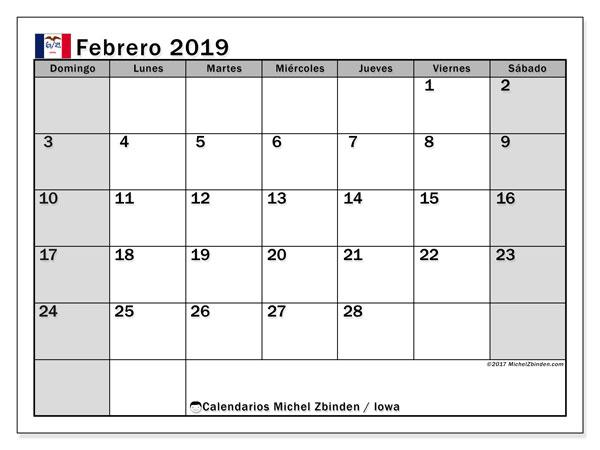 Calendario febrero de 2019 - Iowa. Calendario para imprimir: fiestas oficiales.