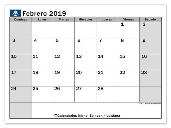 Calendario febrero 2019, con los días feriados en Luisiana. Almanaque para imprimir gratis.