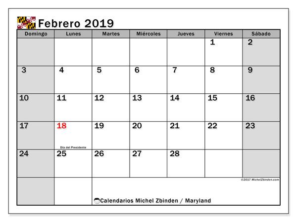 Calendario febrero 2019, con los días feriados en Maryland. Calendario para el mes para imprimir gratis.
