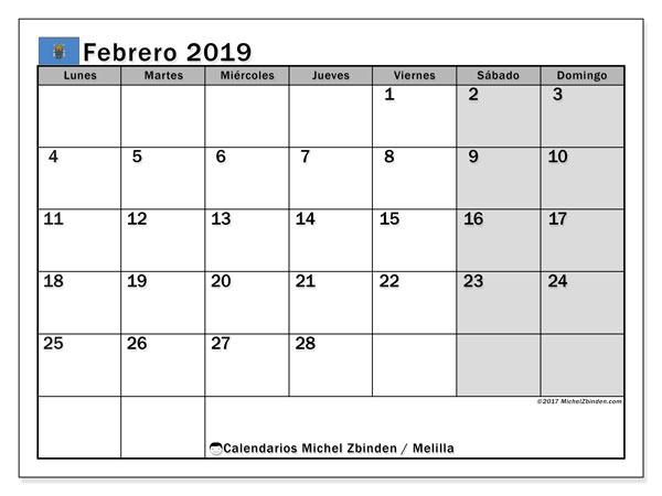 Calendario febrero 2019, con los días festivos de Melilla. Almanaque para imprimir gratis.