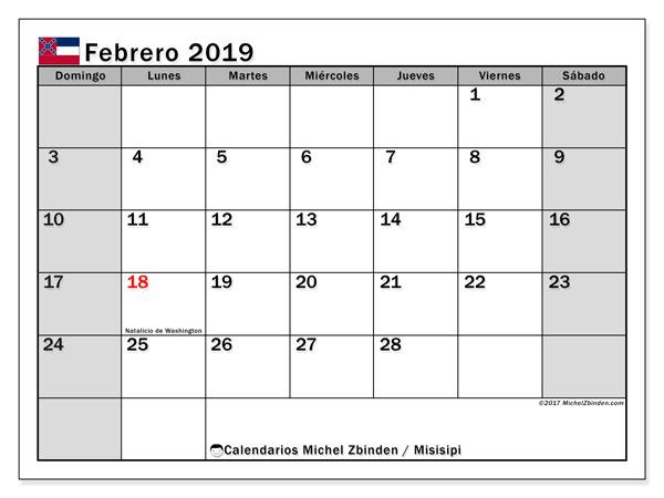 Calendario febrero 2019, con los días feriados de Misisipi. Almanaque para imprimir gratis.