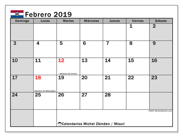 Calendario febrero 2019, con los días feriados de Misuri. Calendario para el mes para imprimir gratis.