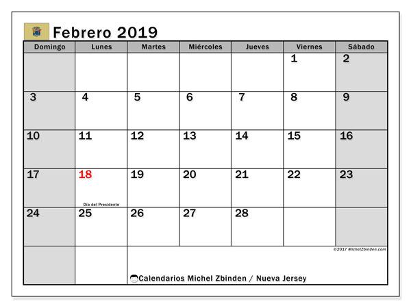 Calendario febrero 2019, con los días feriados de Nueva Jersey. Calendario para el mes para imprimir gratis.