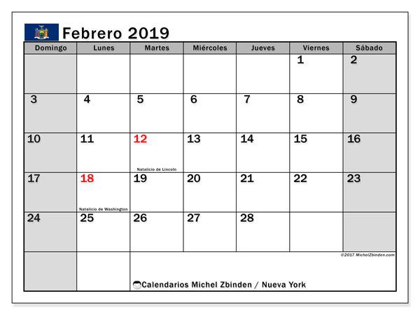 Calendario febrero 2019, con los días feriados de Nueva York. Planificación para imprimir gratis.