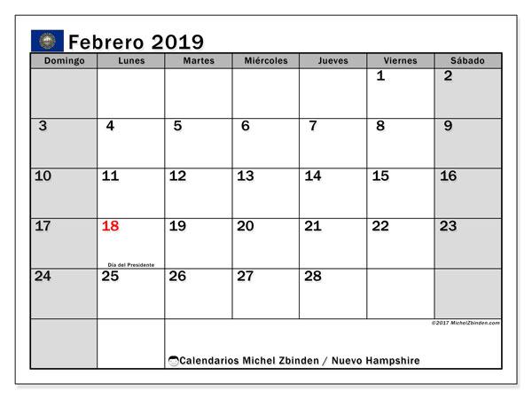 Calendario febrero 2019, con los días feriados de Nuevo Hampshire. Planificación para imprimir gratis.
