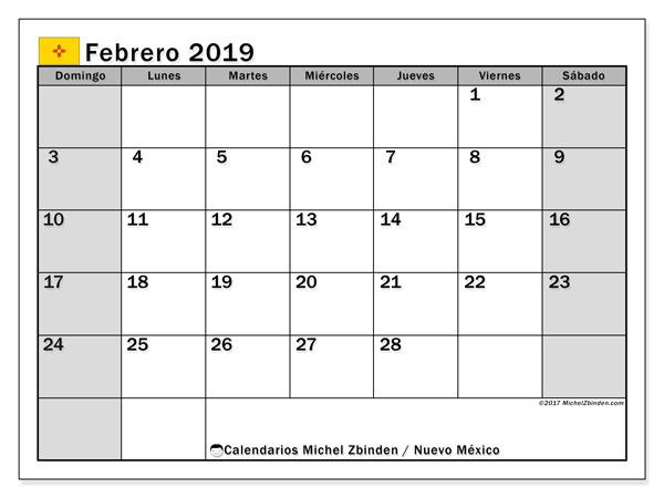 Calendario febrero 2019, con los días feriados en Nuevo México. Calendario para el mes para imprimir gratis.