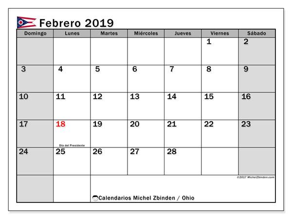 Calendario febrero 2019, con los días feriados en Ohio. Planificación para imprimir gratis.