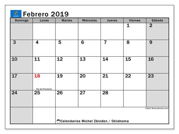 Calendario febrero 2019, con los días feriados de Oklahoma. Calendario imprimible gratis.