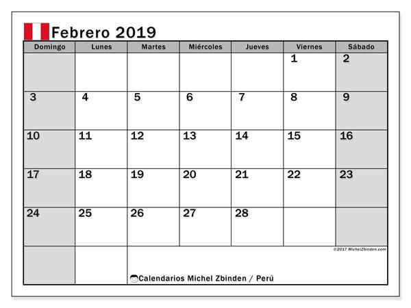 Calendario febrero 2019, con los días feriados para Perú. Calendario para imprimir gratis.