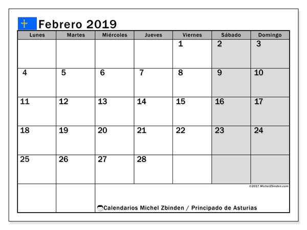 Calendario febrero 2019, con los días festivos del Principado de Asturias. Planificación para imprimir gratis.