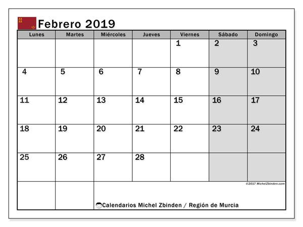 Calendario febrero 2019, con los días festivos en la Región de Murcia. Almanaque para imprimir gratis.