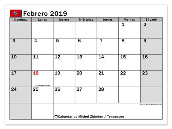 Calendario febrero 2019, con los días feriados en Tennessee. Calendario imprimible gratis.