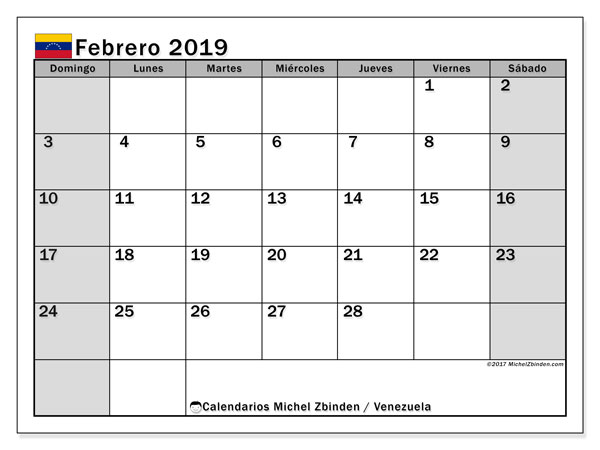 Calendario febrero 2019, con los días feriados para Venezuela. Calendario para imprimir gratis.