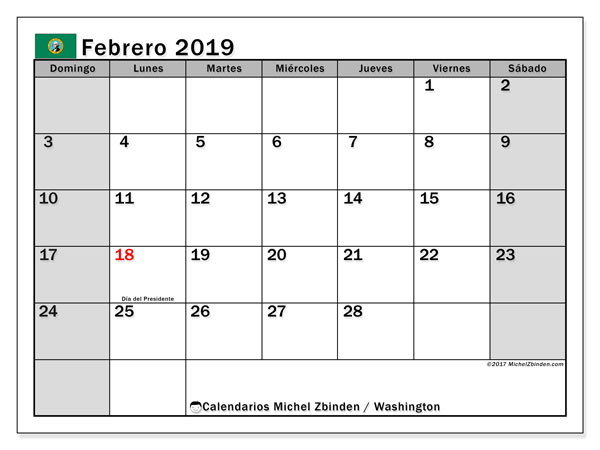 Calendario febrero 2019, con los días feriados en Washington. Calendario imprimible gratis.