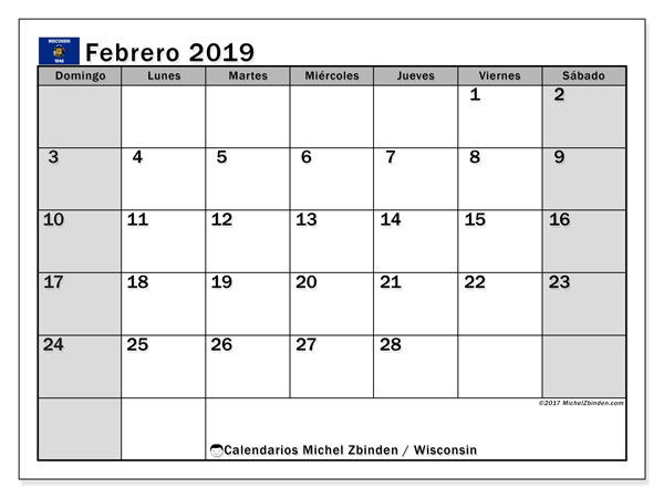 Calendario febrero 2019, con los días feriados en Wisconsin. Calendario imprimible gratis.