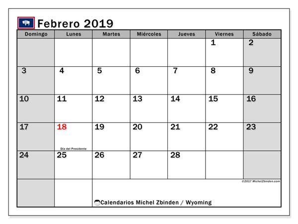 Calendario febrero 2019, con los días feriados en Wyoming. Planificación para imprimir gratis.