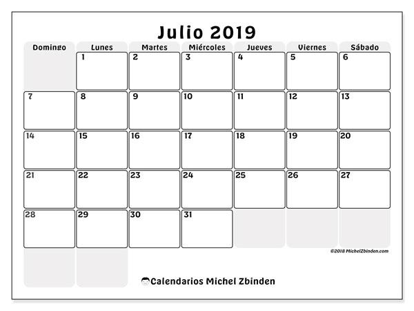 Calendario julio 2019, 44DS. Calendario para el mes para imprimir gratis.