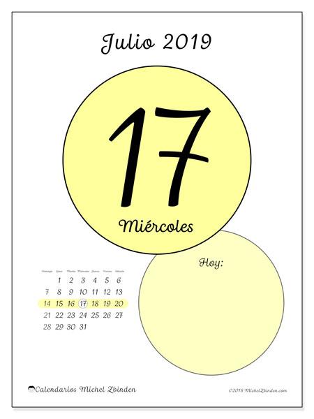 Calendario julio 2019, 45-17DS. Calendario diario para imprimir gratis.