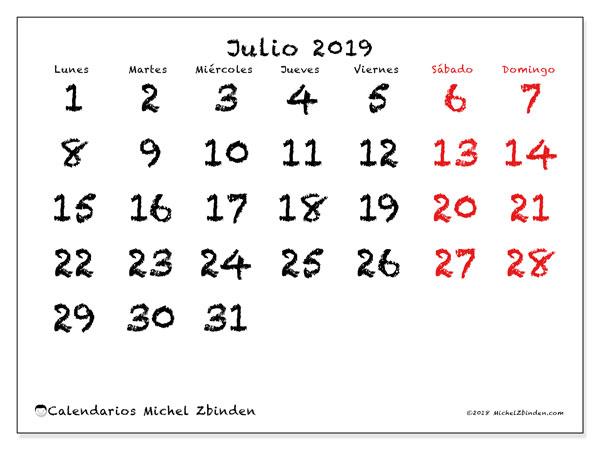 Calendario julio 2019, 46LD. Planificación para imprimir gratis.