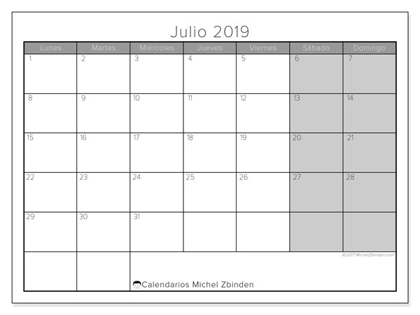 Calendario julio 2019, 54LD. Calendario para imprimir gratis.