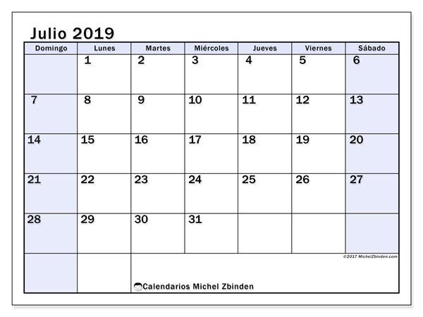 Calendario julio 2019, 57DS. Almanaque para imprimir gratis.